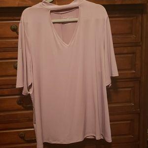 Nwot 3XL Blush colored peak-a-boo collar top